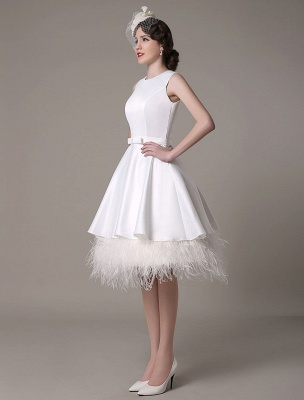 A-Line Wedding Dress Knee-Length Feather Tiered Satin Bow Bridal Dress Exclusive_4