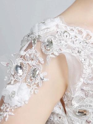 Prinzessin Brautkleider Elfenbein Backless Brautkleid Spitze Applique V-Ausschnitt Langer Zug Brautkleid_6