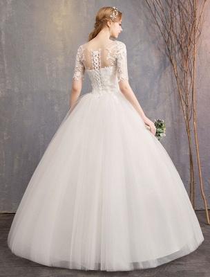 Vestidos de novia de encaje Marfil Escote de ilusión La mitad de manga Hasta el suelo Vestido de novia de princesa_6