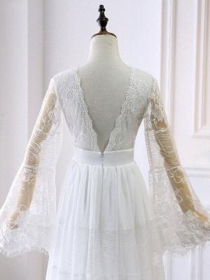 Boho Wedding Dresses 2021 A Line Deep V Neck Multilayer Lace Chiffon Beach Party Dress Bridal Gowns_6
