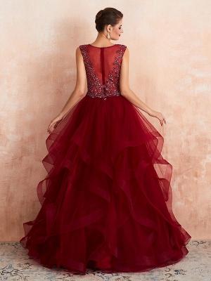Ball Gown Wedding Dress Princess Floor Length V Neck Sleeveless Sequins Tulle Bridal Dresses_3