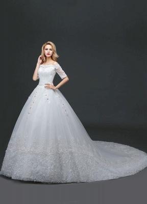 Vestido de novia de princesa fuera del hombro Vestido de novia con cuentas de encaje Vestido de novia de media manga blanco Vestido de novia con tren de la catedral_2