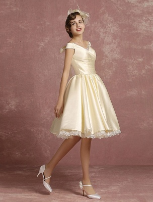 Short Wedding Dresses Satin Vintage Princess Bridal Dress Knee Length Sleeveless Lace Edge Pleated Bridal Gown With Ribbon Bow Exclusive_4