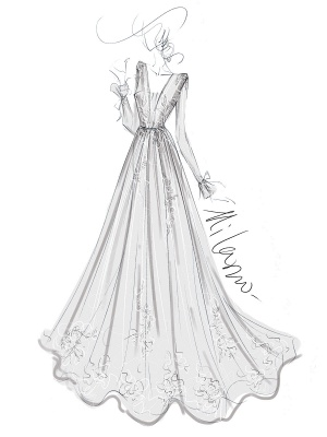 Simple Wedding Dress A Line V Neck Long Sleeves Lace Floor Length Bridal Gowns_4