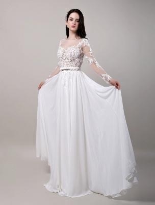 Boho Beach Sheer Lace Chiffon Tul Mangas largas Deep V Back Vestido de novia sin espalda_4