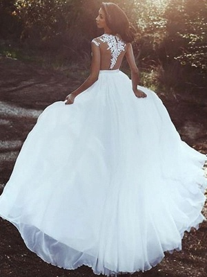 Wedding Dresses With Court Train A-Line Sleeveless Applique Illusion Neckline Bridal Gowns_2