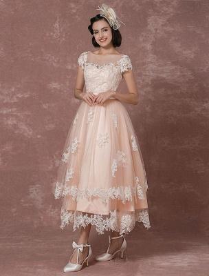 Wedding Dress Short Vintage Bridal Dress Backless Illusion Lace Applique Tea-Length A-Line Reception Bridal Gown Exclusive_4