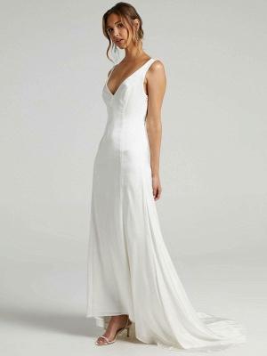 Weißes einfaches Brautkleid A-Linie V-Ausschnitt Ärmellos Rückenfreies Chiffon Brautkleider_2