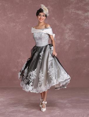 Black Wedding Dresses Vintage Short Bridal Gown Lace Off The Shoulder Polka Dot Print Bridal Dress With Bow At Back Exclusive_5