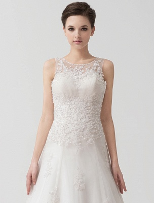 Sweep Ivory Lace Sweetheart A-Line Brides Wedding Dress With Adjustable Strap_7