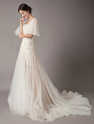 Boho Wedding Dresses Tulle Lace V Neck Butterfly Sleeve Backless Summer Beach Bridal Gowns_6