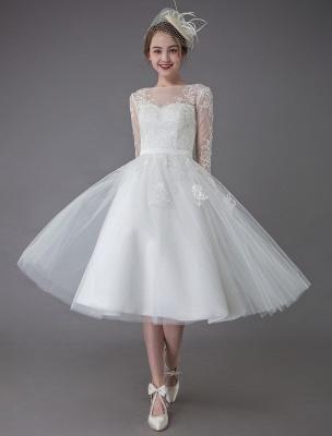Vintage Wedding Dresses Tulle Bateau 3/4 Length Sleeve A Line Bridal Gown Short Bridal Dress Exclusive_1
