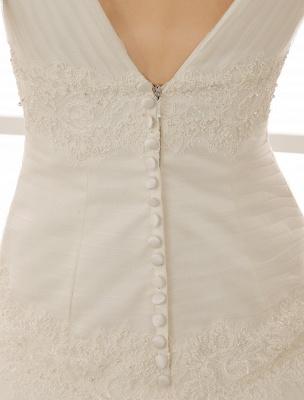 V-Neck Mermaid Brides Wedding Dress With Flowers Detailing_7