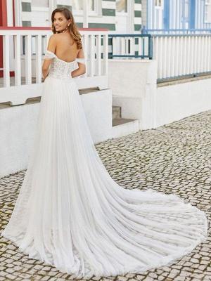 Brautkleider mit Schleppe A-Linie Bodenlang Ärmellos Perlen Sweetheart Neck Brautkleider_2