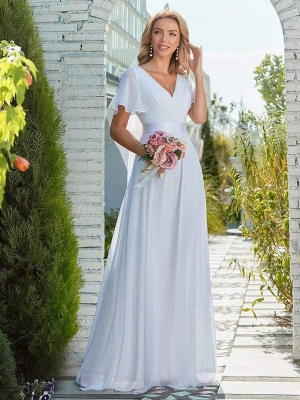 Simple Wedding Dress Chiffon V-Neck Short Sleeves Backless A-Line Long Bridal Gowns_2