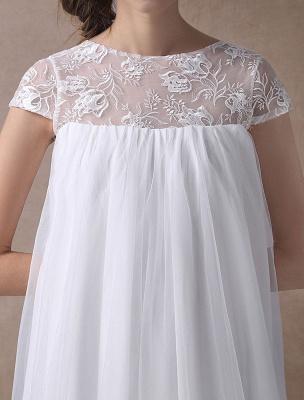 Simple Wedding Dresses Short Empire Waist Lace Tulle Cap Sleeve Pregnant Bridal Dress Exclusive_9