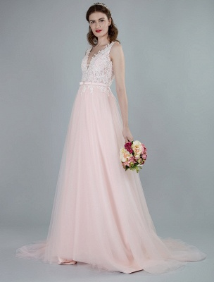 Wedding Dresses A Line Sleeveless Bows V Neck Bridal Dresses With Court Train Exclusive_4