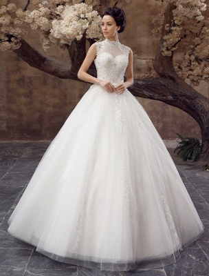 Wedding-Dresses-Ball-Gown-Bridal-Dress-Lace-Applique-Open-Back-High-Collar-Sequins-Rhinestones-Floor-Length-Bridal-Dress_2