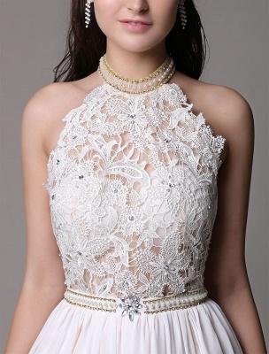White Prom Dresses 2021 Long Ivory Halter Backless Evening Dress Lace Applique Beading Chiffon Split Party Dress_12