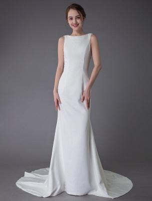 Brautkleider Elfenbein Mantel Einfaches Brautkleid mit Wasserfallausschnitt Strandhochzeitskleider mit Zug Exklusiv_2