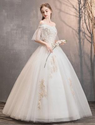 Prinzessin Brautkleid Elfenbein schulterfreies bodenlanges Brautkleid_4