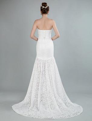 Einfache Brautkleider trägerlose ärmellose Spitze Meerjungfrau Brautkleider mit Zug_3