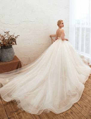 Vestido de novia 2021 Una línea Cuello en V Sin mangas Cintura natural con tren Vestidos de novia de tul_3