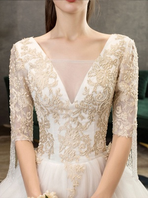 Princess Wedding Dress Ivory Lace Appilque V Neck Half Sleeve Bridal Gown With Train_6