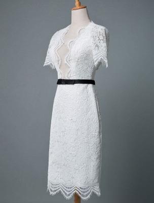 Einfache Brautkleider V-Ausschnitt Kurze Ärmel Mantel Knielang Vintage Brautkleider Exklusiv_3
