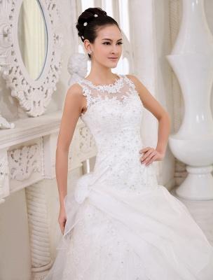 Elfenbeinfarbenes Duchesse-Linienkleid mit Juwelen-Ausschnitt und Pailletten Kapelle-Schleppe-Brautkleid exklusiv für die Braut_5