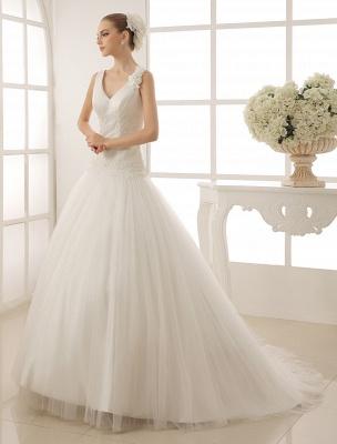 V-Neck Mermaid Brides Wedding Dress With Flowers Detailing_3