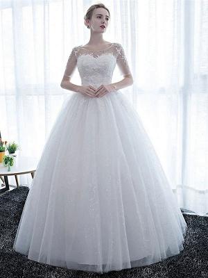 Elegante Brautkleider Weiß Schulterfrei Halbarm Weicher Tüll Lace Up Bodenlangen Brautkleider_1