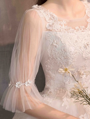 Tüll Brautkleid Elfenbein Spitze Applique Blumendetail Halbarm Prinzessin Brautkleid_9