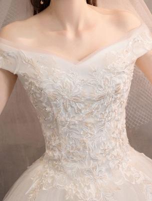 Elfenbein Brautkleider Tüll Schulterfrei Spitze Applique Bodenlangen Prinzessin Brautkleid_7