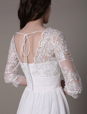 Simple Wedding Dressses Chiffon V Neck Lace A Linepleated Bridal Dress Exclusive_8