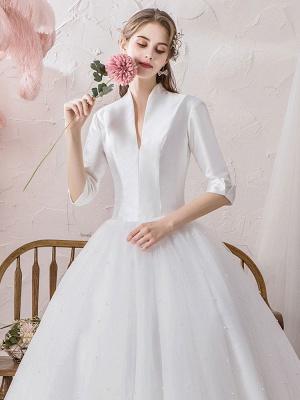 Vintage Wedding Dresses Princess High Collar Half Sleeve Floor Length Tulle Traditional Bridal Gowns_6