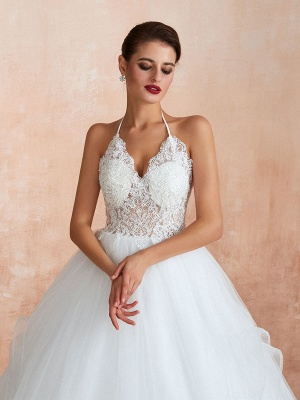 Wedding Dress 2021 Ball Gown Halter Sleeveless Floor Length Lace Tulle Bridal Gowns With Train_2