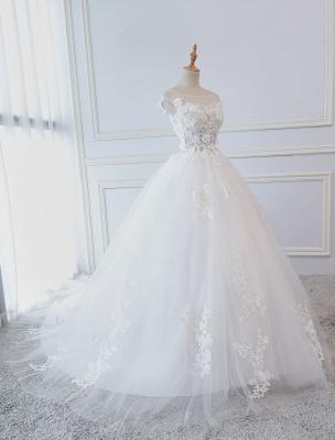 Prinzessin Brautkleider Ballkleider Spitze Blumen Applique Ärmellose Brautkleider Mit Zug_2