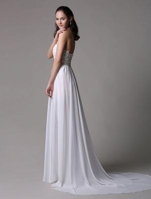 White Prom Dresses 2021 Long Ivory Halter Backless Evening Dress Lace Applique Beading Chiffon Split Party Dress_9
