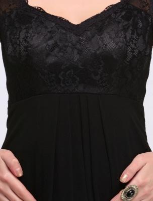 Black Evening Dress Lace Sweatheart Maxi Party Dress A Line Sleeveless Floor Length Mother'S Dress_9
