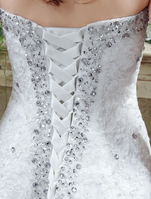 Tulle Wedding Dress Lace Beading Bridal Gown Strapless Sweetheart Chapel Train A-Line Backless Bridal Dress_8