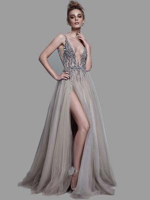 Boho Wedding Dress 2021 A Line Deep V Neck Sleeveless Straps Split Front Floor Length Prom Dresses_1