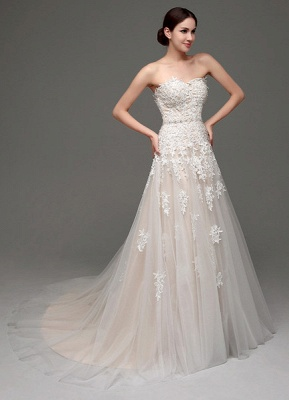 Wedding Dresses Champagne Tulle Strapless Sweatheart Lace Sash Bridal Gown_4