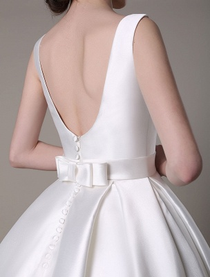 Ivory Wedding Dress Scoop Backless Knee Length Satin Wedding Gown Exclusive_15