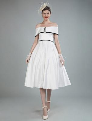 Vintage Brautkleider Satin Schulterfrei A Line Tee Länge Kurze Brautkleider Exklusiv_1