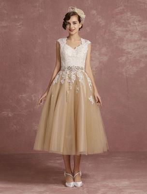 Vestido de novia de la vendimia Vestido de novia corto con apliques de encaje de champán Vestido de novia con cuello de la reina Ana Vestido de novia de la longitud del té_2