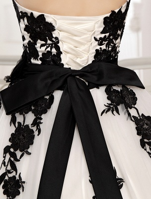 Wedding Dresses Strapless Black Bridal Gown Lace Applique Flowers Sash Beaded Court Train Ivory Tulle Bridal Dress Exclusive_8