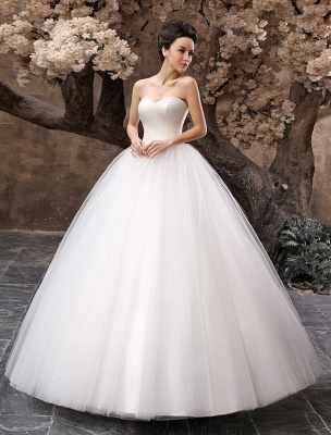 Princess Wedding Dresses 2021 Ball Gown White Maxi Strapless Sweetheart Neckline Tulle Floor Length Bridal Gowns_2