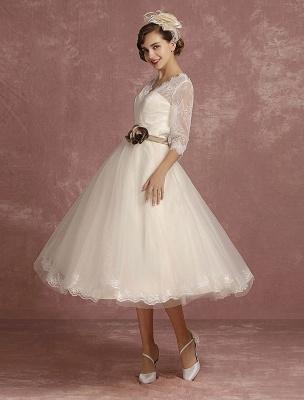 Vintage Brautkleid Kurze Spitze Tüll Brautkleid Halbarm V-Ausschnitt Backless A-Linie Blume Schärpe Tee Länge Brautkleid Exklusiv_6