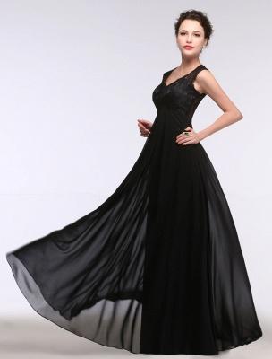 Black Evening Dress Lace Sweatheart Maxi Party Dress A Line Sleeveless Floor Length Mother'S Dress_5
